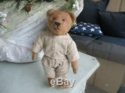 10 Antique, Early Fully Jointed Mohair Teddy Bear With Original Clothes