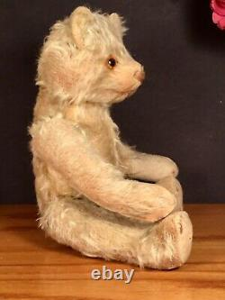 12 ANTIQUE 1920s GUND TEDDY BEAR BLONDE MOHAIR ALL ORIGINAL EXCELSIOR STUFFED