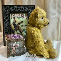 12 ANTIQUE 1930s GERMAN TEDDY BEAR, LONGS ARMS, GOLD MOHAIR, BOOT BUTTON EYES