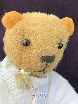 12 Antique German 1920-30 Golden Mohair Teddy Bear Jill - A cute little girl