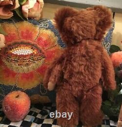 12 PETITE ANTIQUE 1920s KNICKERBOCKER TEDDY BEAR WITH FULL BROWN MOHAIR COAT