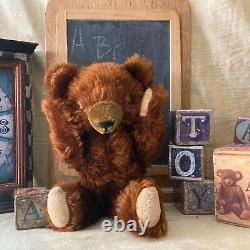 13 ANTIQUE 1930s RARE KNICKERBOCKER AMBER TIN EYE CINNAMON MOHAIR TEDDY BEAR
