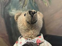 14 Early mohair teddy bear in antique Raggedy Andy outfit