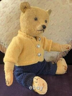 16 Antique German 1920-30 Golden Mohair Teddy Bear Jordan
