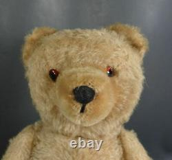 16''Antique German Teddy Bear Straw-Stuffed Gold Mohair Jointed Toy withGlass Eyes