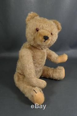 16''Antique German Teddy Bear Straw-Stuffed Mohair Jointed Figure ToyGlass Eyes