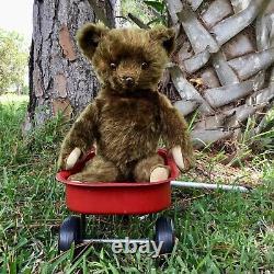 17 ANTIQUE 1930s KNICKERBOCKER TIN NOSE / METAL NOSE TEDDY BEAR BROWN MOHAIR