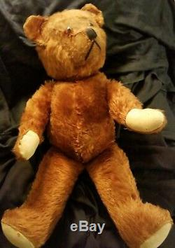 1900's 23 ANTIQUE BROWN /GOLD TOY MOHAIR EARLY HUMPBACK TEDDY BEAR