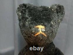 1910-20s 18 BLACK Mohair Stick Bear Ideal Teddy Bear Jointed American Toy