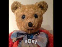 1920's RARE ANTIQUE CHAD VALLEY RED MOHAIR TUBBY RAINBOW TEDDY BEAR. Amazing