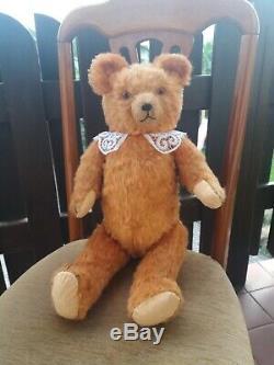 1930s Vintage Antique German Petz Golden Mohair Straw Filled Teddy Bear, 22inch
