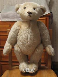 1980's Steiff Margaret Strong Cream colored Mohair Teddy Bear 60 cm 23