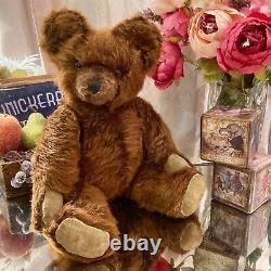 20 ANTIQUE 1940s KNICKERBOCKER TEDDY BEAR WITH FULL LONG WAVY BROWN MOHAIR COAT