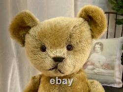 20 PRECIOUS ANTIQUE 1910s AMERICAN IDEAL TEDDY BEAR IN WHITE DRESS