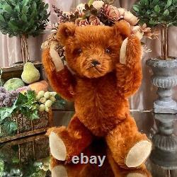 20 RARE ANTIQUE 1930s GUND TEDDY BEAR WITH FULL SILKY CINNAMON MOHAIR COAT