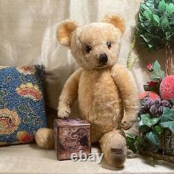 21 Antique 1940s Merrythought Teddy Bear, Gold Mohair And Foot Label