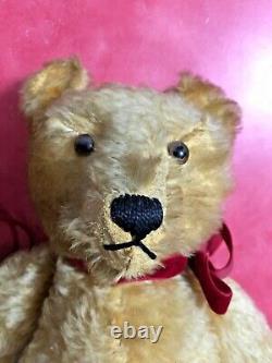 2 Vintage 1950's Glass Eyes Mohair Wood Straw Stuff Hump Back Teddy Bears Steiff