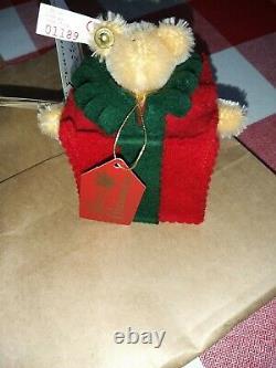 2x STEIFF CHRISTMAS TREE TEDDY BEAR & ALL WRAPPED UP TEDDY