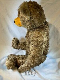 ANTIQUE BROWN MOHAIR & WOOD WOOL 5-WAY JOINTED TEDDY BEAR e438