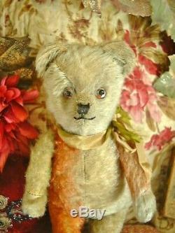 ANTIQUE CLOWN TEDDY BEAR tri-color mohair