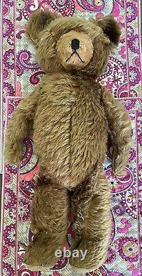 ANTIQUE EARLY 1940s LARGE 21 KNICKERBOCKER TEDDY BEAR MOHAIR Jointed, No Eyes