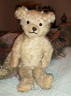 Antique 1920s White Mohair Teddy Bear Rare Find Very Cute & Sweet Bear 14 in
