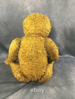 Antique 22'' Russian Straw Stuffed Mohair Teddy Bear with Growler & Glass eyes