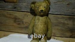 Antique 23 Vintage Mohair Jointed Teddy Bear Straw Stuffed
