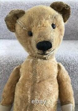 Antique American Golden Mohair Jointed Teddy Bear Boot Button Eyes 22 1920/30s