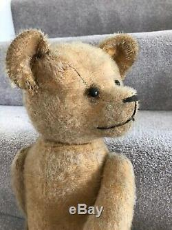 Antique American Mohair Jointed Teddy Bear With Boot Button Eyes