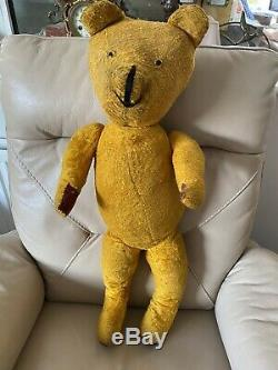 Antique Bear Teddy 1920s 1910s Brown Mohair Woodwool Filled Moving Head Legs