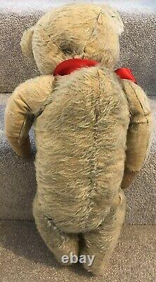 Antique Blue Mohair Jointed Hump Back Teddy Bear With Rattle Well Loved TLC 18