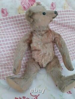 Antique Early 1900s Metal Ear Button Steiff Handsome Jointed Mohair Teddy Bear