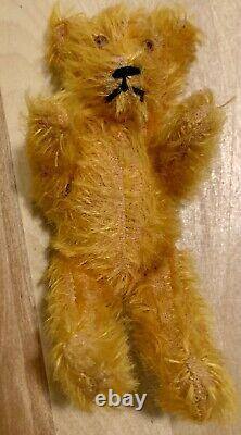 Antique Early Blonde Jointed Mohair 5 1/2 Miniature Teddy Bear-Vintage Toy