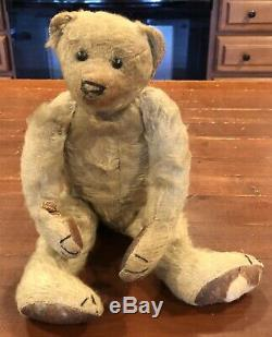 Antique Early Steiff Teddy Bear Blonde Mohair Disc Jointed Shoebutton Eyes