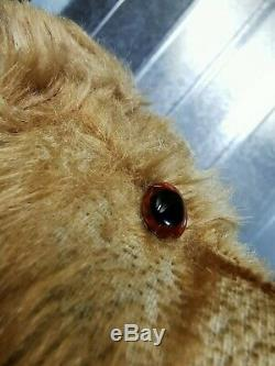 Antique Farnell English Teddy bear late 1930s Mohair fur Glass eyes Rexine pads