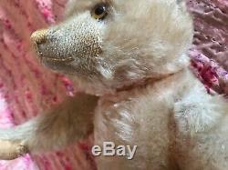 Antique Farnell pink mohair teddy bear all original