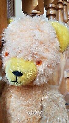 Antique German Teddy Bear Straw-Stuffed Mohair Joint Toy Growler Glass Eyes