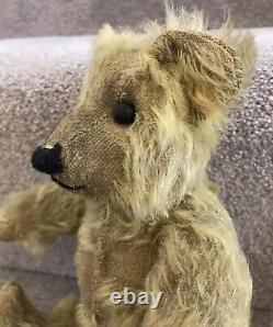 Antique Golden Mohair Jointed Teddy Bear British C. 1920s