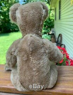 Antique Jointed Straw Filled Humpback Mohair Teddy Bear Old Vintage Bear