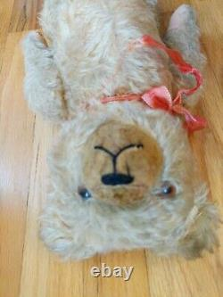 Antique Jointed Straw Filled Mohair Teddy Bear 17 growler