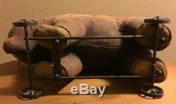 Antique Large Mohair Stuffed Teddy Bear Riding Toy Pull Toy Early Steiff Growler