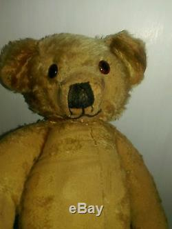 Antique Merrythought English loved old jointed mohair teddy bear Approx 1940s