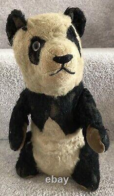 Antique Merrythought Or Similar British Mohair Panda Teddy Bear C. 1930s