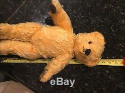 Antique Mohair Chad Valley Straw Filled Teddy Bear Glass Eyes 12 Jointed