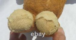 Antique Mohair Jointed Brown Teddy Bear In Overalls 15