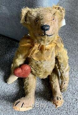 Antique Mohair Teddy Bear Jointed 11 Steiff Hard Stuffed Glass Eyes Bit Worn