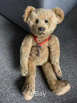 Antique Mohair Teddy Bear Jtd 13 Steiff Excelsior Stuffed Paw Pads Bit Worn
