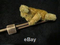 Antique Mohair Teddy Bear Rare Tumbling Acrobat Pole Schuco Bing Vintage Germany