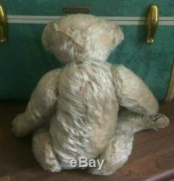 Antique Primitive Steiff Mohair Blond Teddy Bear Early 1900's Hump Back Jointed